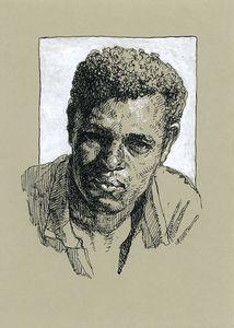 Black man portrait. Ink drawing