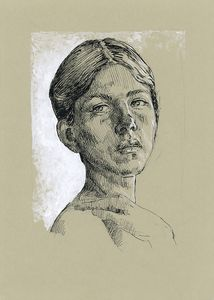 Woman portrait. Pen and ink drawing