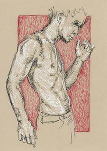 Male nude drawing. Pen & ink artwork