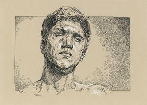 Handsome man portrait. Ink drawing