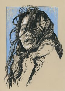 Beautiful asian girl ink portrait