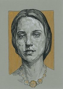 Green and gold. Woman portrait drawi