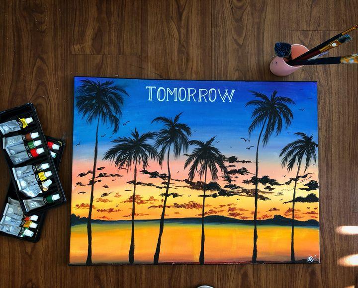 sunset acrylic painting - apostrophe arts