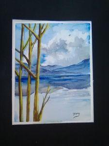 Blue tree mountain.Sky reflections, - Helen georgi de soto