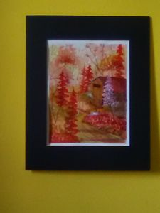Red Autumn Forest,in Watercolor,