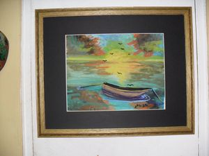 Blue Boat See Shore  Watercolor