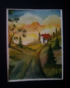 House on a Hill,Watercolor Art Print