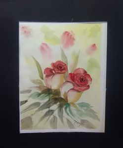 To Red Rose Buds, Flowers ,painting