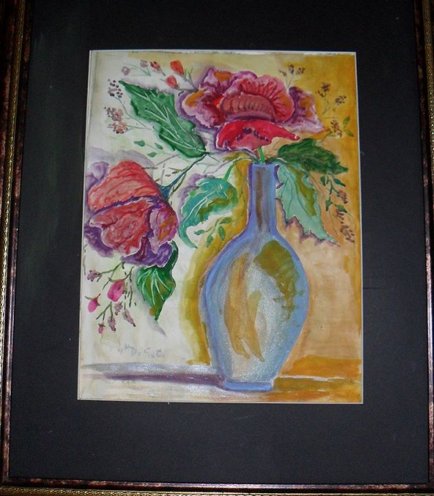 Red Fower  blueWatercolor Painting - Helen georgi de soto