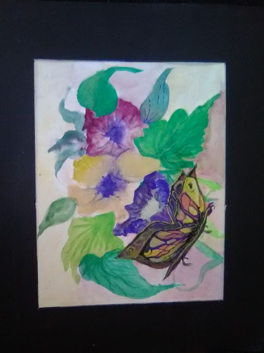 Floral with butterfly in watercolor, - Helen georgi de soto