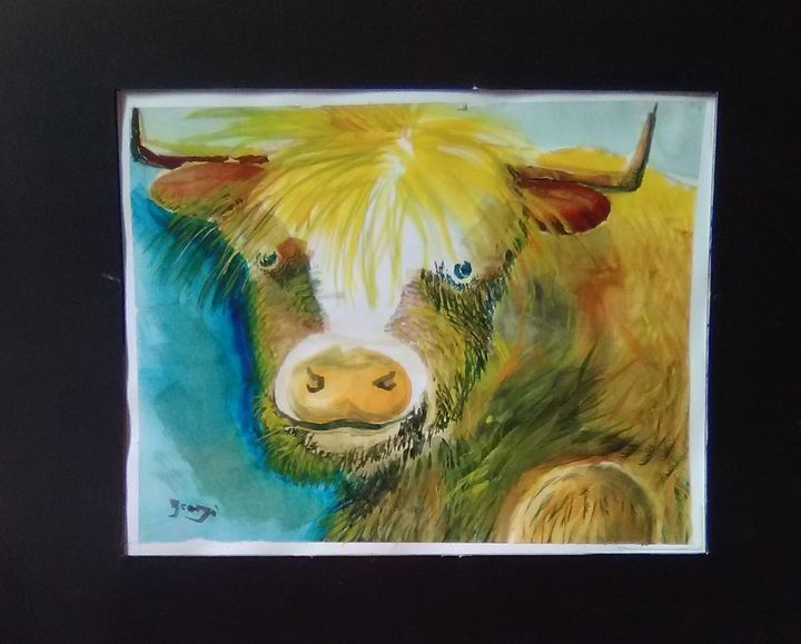 Buster the Bull, Watercolor Painting - Helen georgi de soto