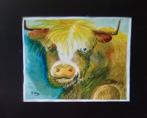 Buster the Bull, Watercolor Painting