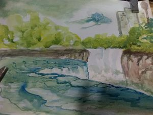 Niagara Falls watercolor painting,