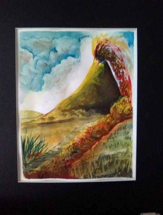 Volcano, Watercolor original  prints - Helen georgi de soto