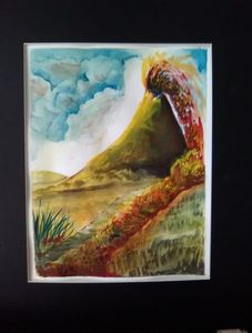 Volcano, Watercolor original  prints