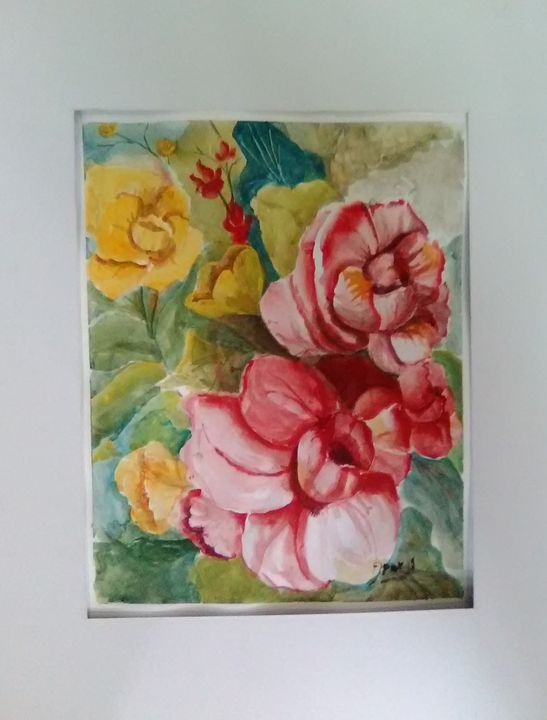 Red floral painting in watercolor - Helen georgi de soto