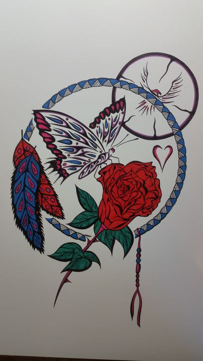 Butterfly n rose - Native art by Allan Joseph