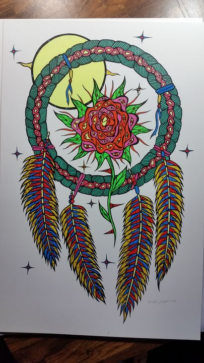 Rose n sweetgrass wheel - Native art by Allan Joseph