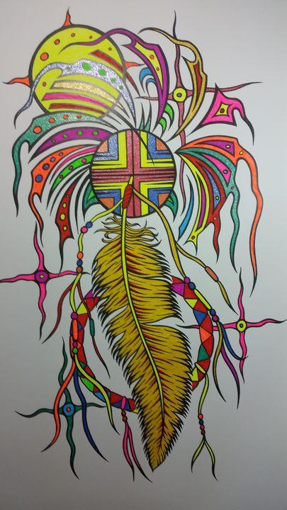 Gold feather wheel - Native art by Allan Joseph