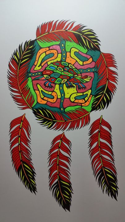 Turtle clan n feather wheel - Native art by Allan Joseph