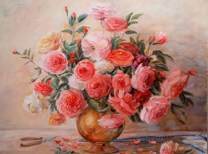 Roses with garden scissors - Kristina Lao Art