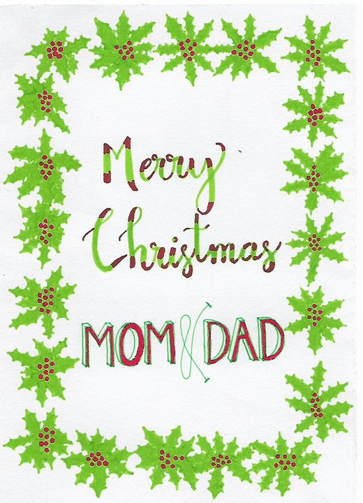 Merry Christmas Mom and Dad - Christian Art by Sneha