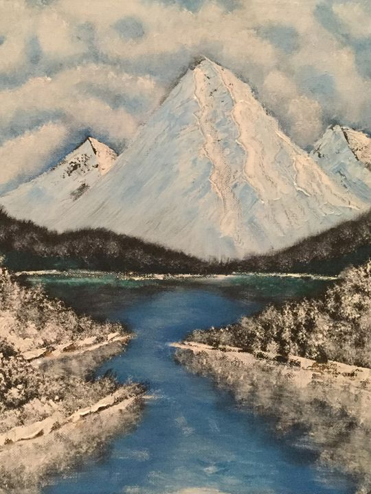 Bob Ross winter scene - Bob Ross styled paintings