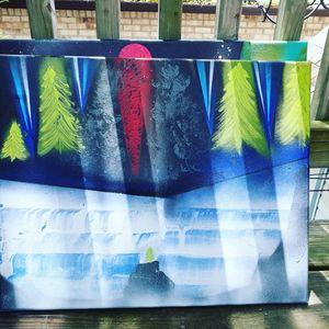 Canvas work waterfalls volcano