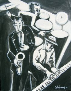 Jazz Trio in black and white