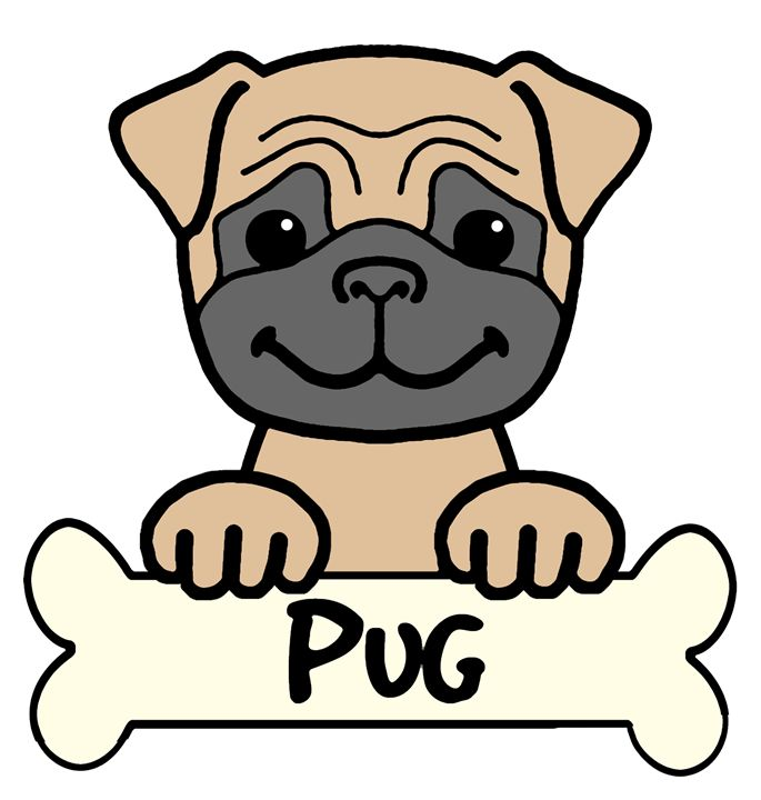 Pug Cartoon - Anita Valle Art