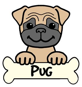 Pug Cartoon - Anita Valle Art