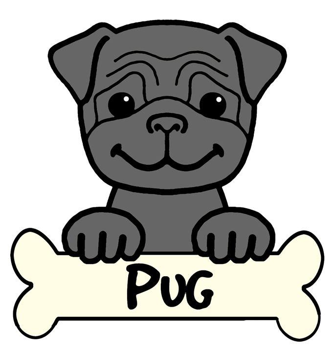 Black Pug Cartoon - Anita Valle Art