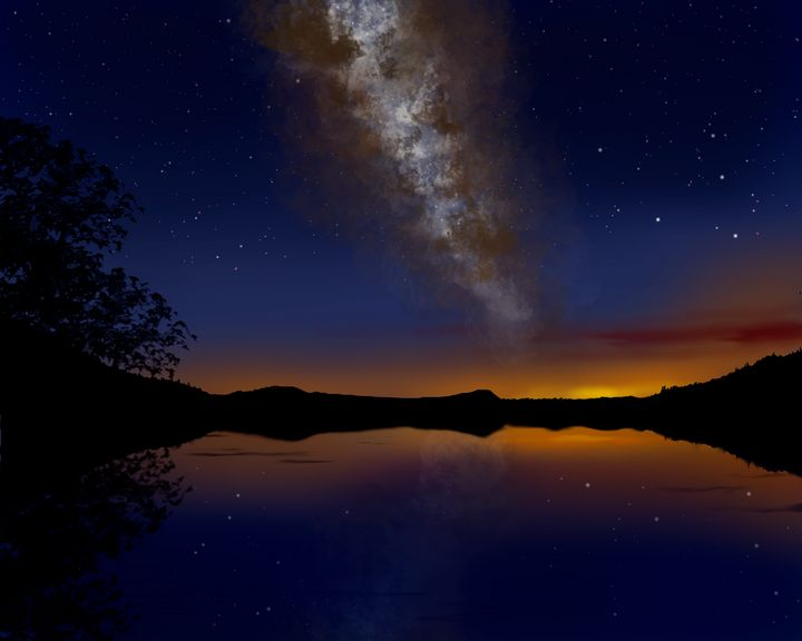 Milky Way Over Lake - EtaGemini Art