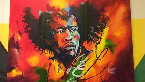 Jimmi Hendrix on fire - brushstroke777