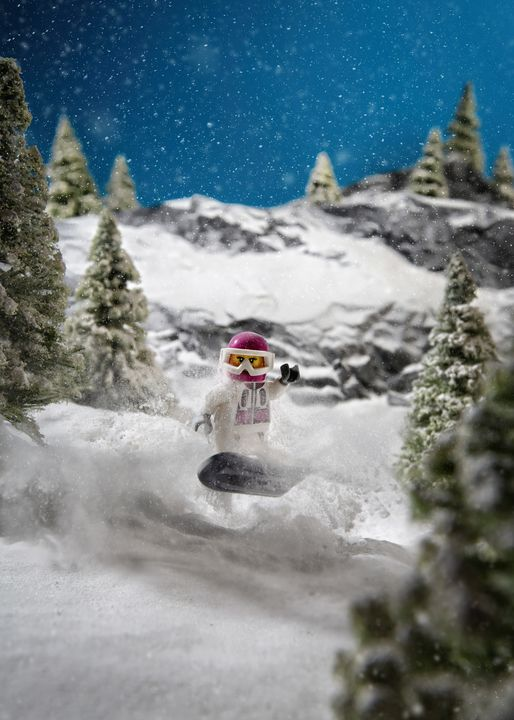 Snowboarding Girl - Lego prints