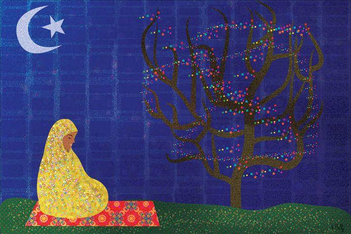 Praying Muslimah - mckayla paints