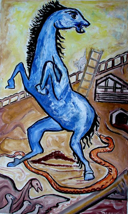 HORSE FRIGHT END BY A SNAKE - ANAND PAINTINGS