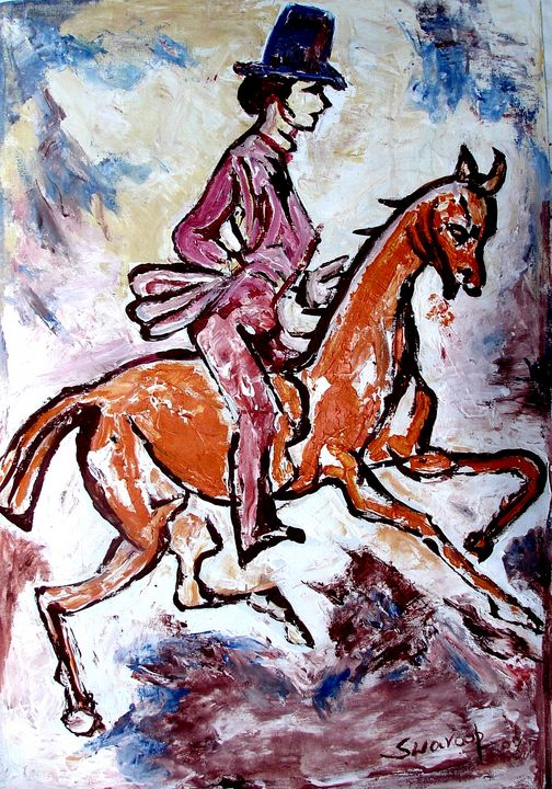 RIDER AND HORSE - ANAND PAINTINGS