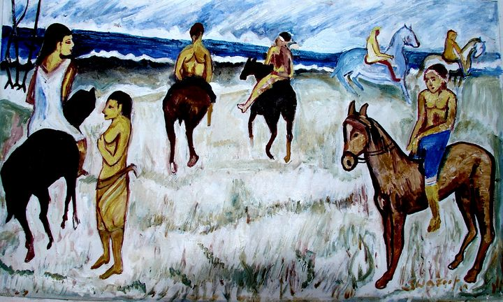 HORSE ON BEACH - ANAND PAINTINGS