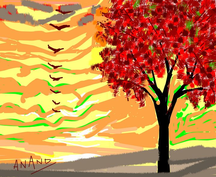 EVENING FALL - ANAND PAINTINGS