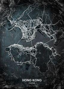 Hong Kong chalkboard map