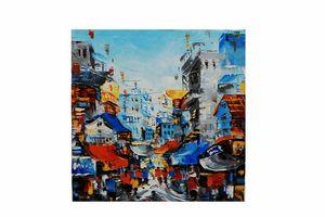 Vietnam oil painting of Hanoi, blue