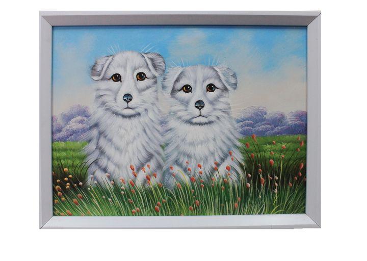 Two white dogs sit in a field - AsopPaints