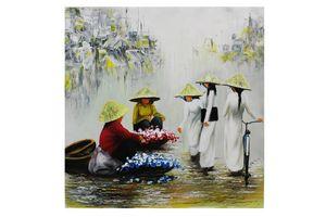 Vietnamese women buying flowers