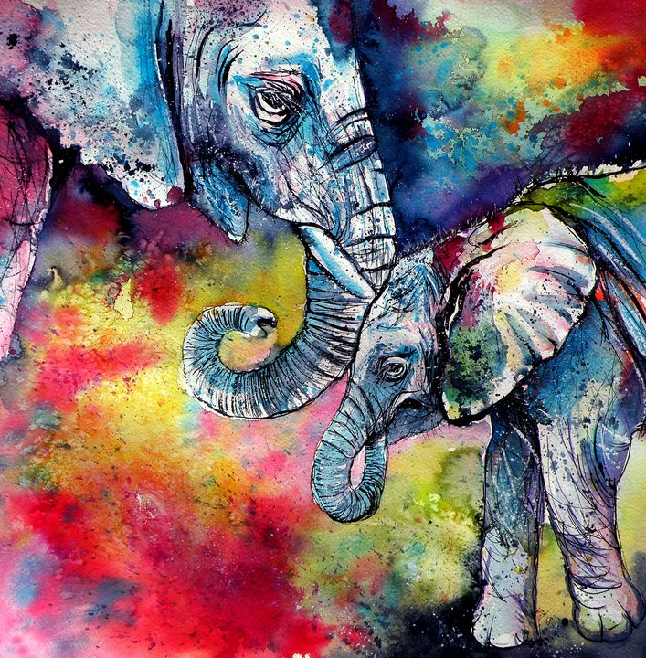 Elephant with baby - kovacsannabrigitta