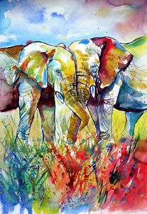 Colorful elephants in love