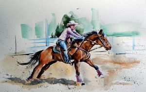Rider with her horse