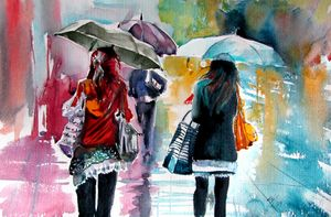 Rainy days with umbrellas II
