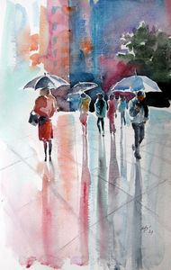 Rainy day with umbrellas III