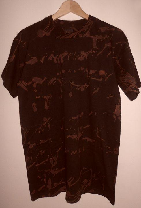 Black Brown Hand Printed T-shirt - Monsylv